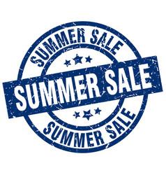 Summer sale blue round grunge stamp vector