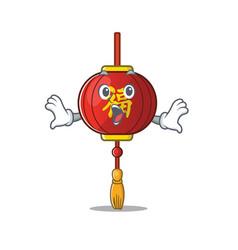Surprised asian lantern face gesture on cartoon vector