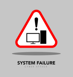 System failure warning symbol cyber security vector