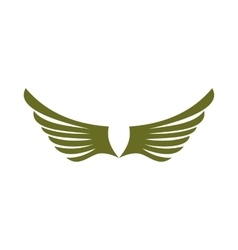 Two green wing birds icon flat style vector
