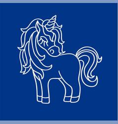 unicorn white silhouette icon on the blue vector image