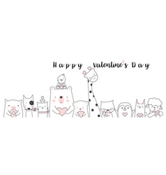 Valentines day background with cute baanimal vector