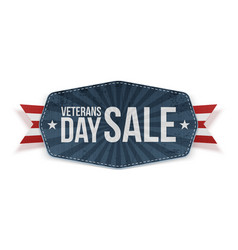 Veterans day sale blue banner with ribbon vector