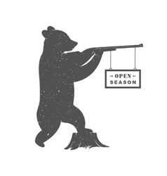 Vintage of Bear with Gun vector image