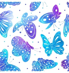 Watercolor vintage butterfly seamless pattern vector