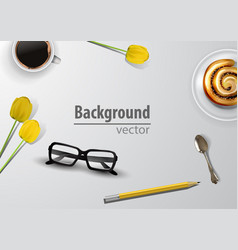 woman blogger workspace with glasses vector image