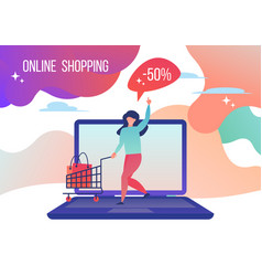 woman shopping in the online store vector image
