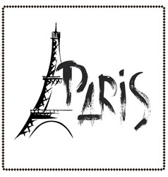 word paris eiffel tower hand drawn vector image