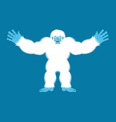 yeti joyful bigfoot cheerful abominable snowman vector image