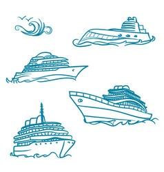 hand drawn yacht symbol vector image