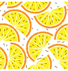 lemon and orange seamless pattern tropical fruits vector image