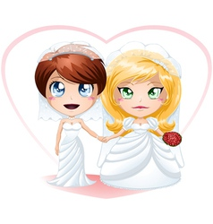 Lesbian Brides In Dresses Getting Married vector image