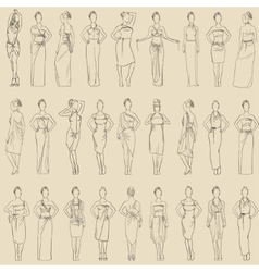 seamless pattern various evening dresses vector image vector image