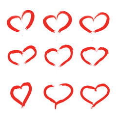 Set of scribbled hearts grunge style icons vector