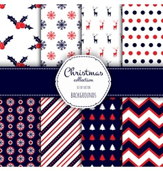 Collection of seamless patterns with red and white vector image