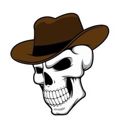 Cowboy skull wearing a stylish fedora hat vector image vector image