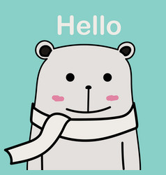 cute bear with blue background vector image