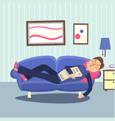 funny sleeping man at home sofa with newspaper vector image vector image
