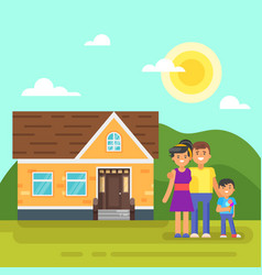 House with happy family vector