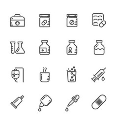 icons set of pills line icons vector image vector image