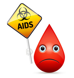 The sad drop of blood with yellow aids virus vector