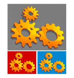 three-color gears vector image vector image