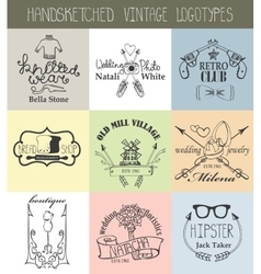 Vintage logotypes setDoodle hand drawn sketched vector image vector image