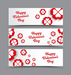Design of horizontal white banners happy vector
