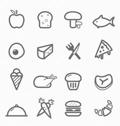food symbol line icon set vector image vector image