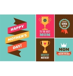 Happy Mothers Day ribbons trophy and elements vector image vector image