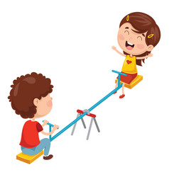 kids playing on seesaw vector image
