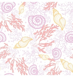Seashells and seaweed seamless pattern background vector image vector image