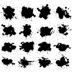 black ink splat isolated on white collection set vector image