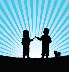 Children with dog in nature silhouette vector