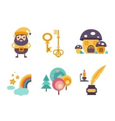 Collection of fairy tale elements icons vector image