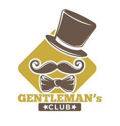 gentlemans club logotype with hat bowtie and vector image