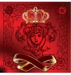 red background golden cupid illustration vector image vector image