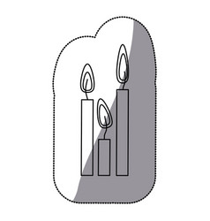 sticker silhouette candles set icon vector image
