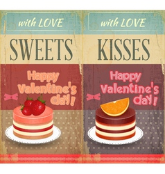 Vintage Retro two Cards to the Valentines Day vector image vector image