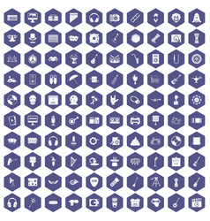 100 show business icons hexagon purple vector