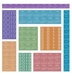 2019 creative calendar in multiple colors vector image