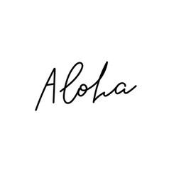Aloha hello hawaii calligraphy quote lettering vector