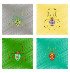 assembly flat shading style icon halloween spider vector image