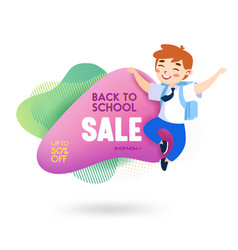 back to school sale banner with cute cartoon boy vector image