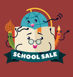 back to school sale supplies stationery logo vector image