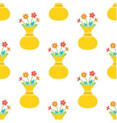 Bouquet flowers in yellow vase pattern vector