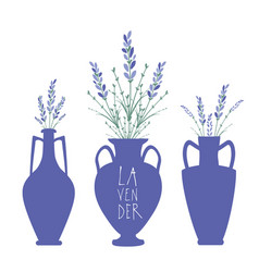 bouquets of lavender in three types of ancient vector image