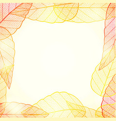 bright golden autumn leaves abstract frame vector image