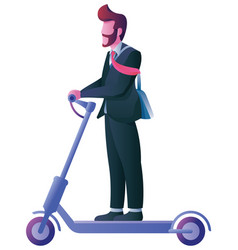 businessman on electric scooter on white vector image