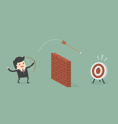 businessman shoot arrow over the wall to the vector image
